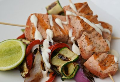 Char-Grilled Salmon Kebabs & Vegetables with Lime Mayonnaise