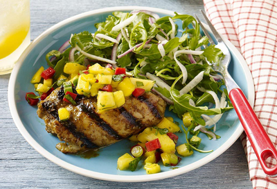 Jerk Chicken Pineapple and Mango Salad (by BBQ School)